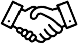 stylized graphic of a handshake