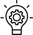 stylized graphic of a lightbulb with a gear inside