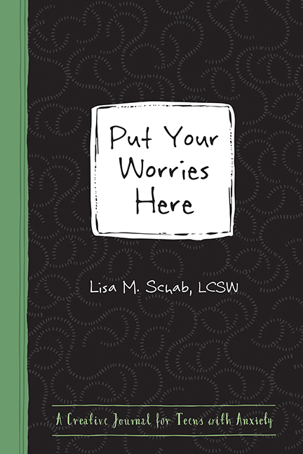 black and green cover with a white box that says Put Your Worries Here