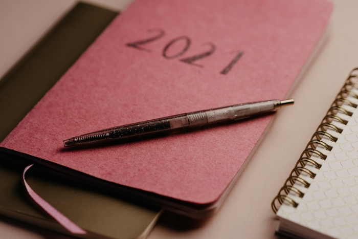 pen on a 2021 journal