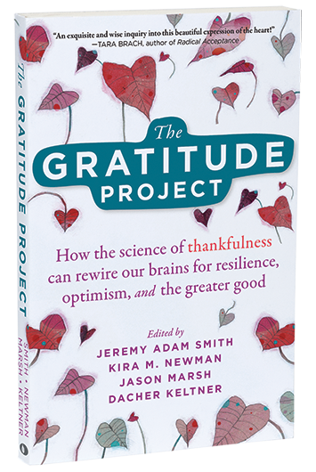 The Gratitude Project cover, with red illustrated leaves shaped like hearts