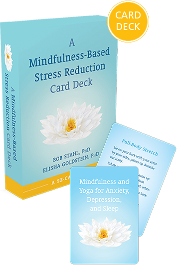 Mindfulness-Based Stress Reduction Card Deck blue box with white lotus flower