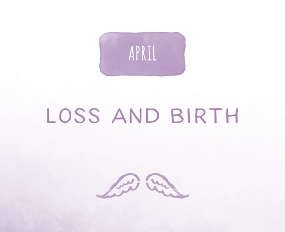 purple wings against a light gray background with the words Loss and Birth above it