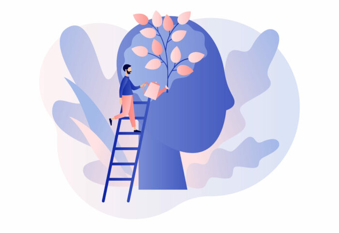 Personal growth. Tiny man watering that growing plant from the brain as metaphor growth personality. Self-improvement and self development concept. Modern flat cartoon style. Vector illustration
