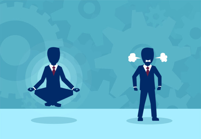 Employees in different states of mind, one is peaceful and floating with legs crossed while the other is fuming angry and tense